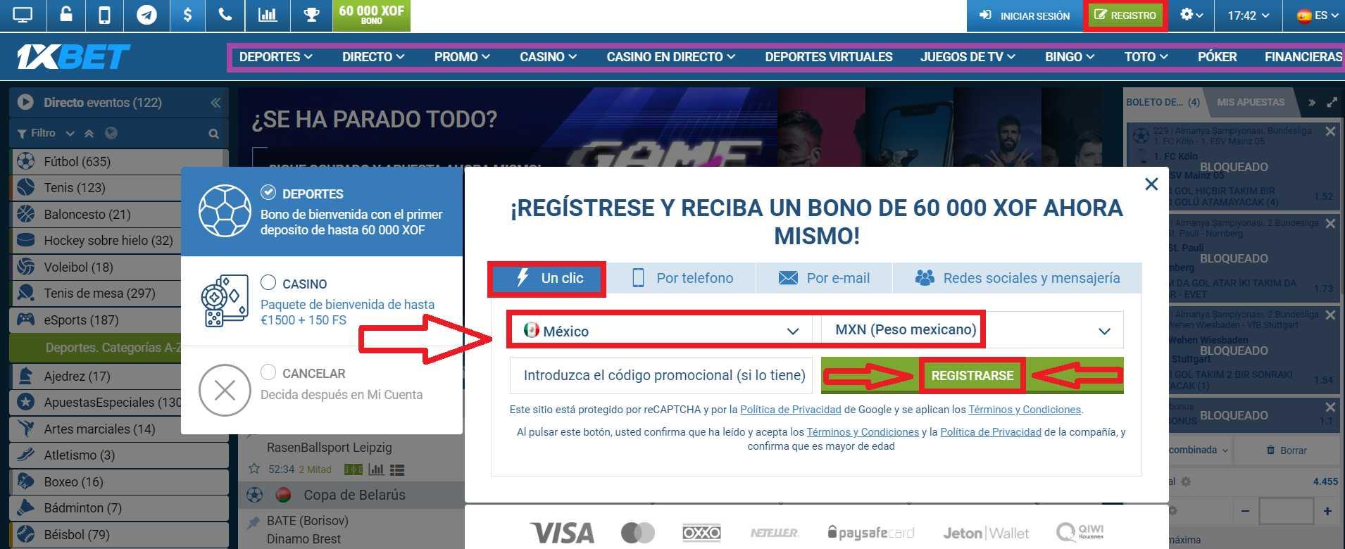 ¿Cómo obtener el bono al terminar el 1xBet registration?